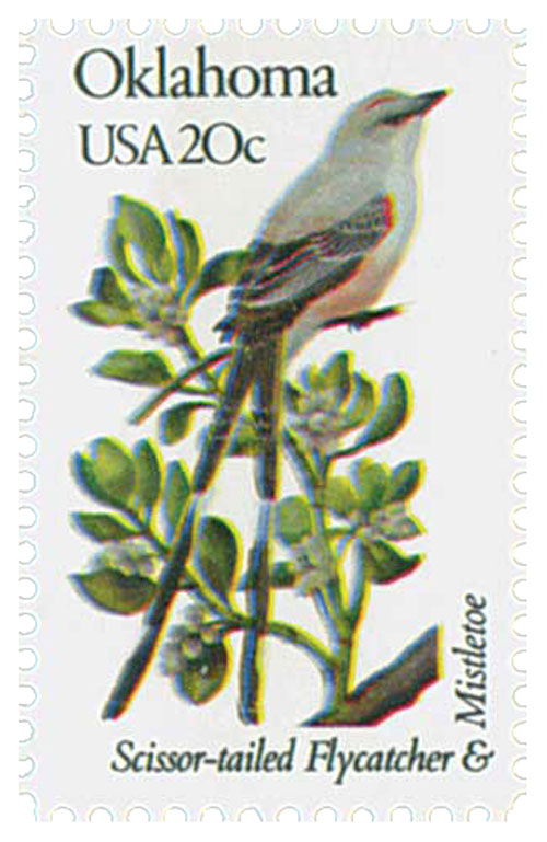 U.S. #1988 – Oklahoma's state bird and flower – Scissor-Tailed Flycatcher and Mistletoe.
