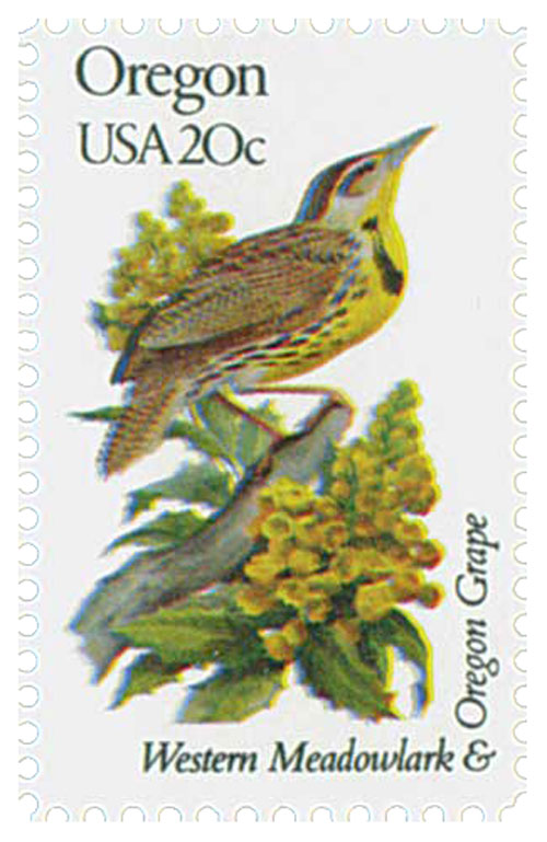 1982 20c State Birds and Flowers: Oregon