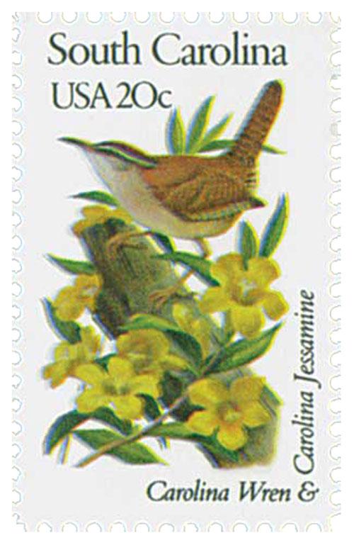 1982 20c State Birds and Flowers: South Carolina