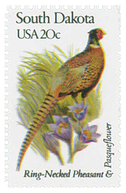 1982 20c State Birds and Flowers: South Dakota