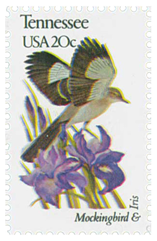 1982 20c State Birds and Flowers: Tennessee