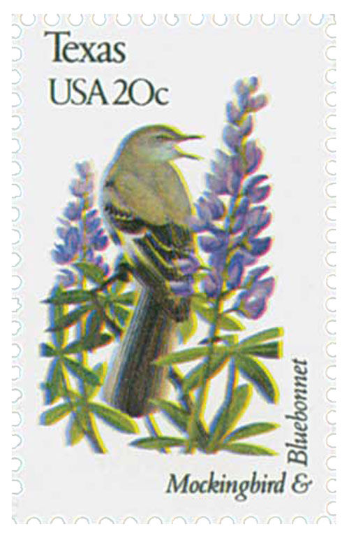 1982 20c State Birds and Flowers: Texas