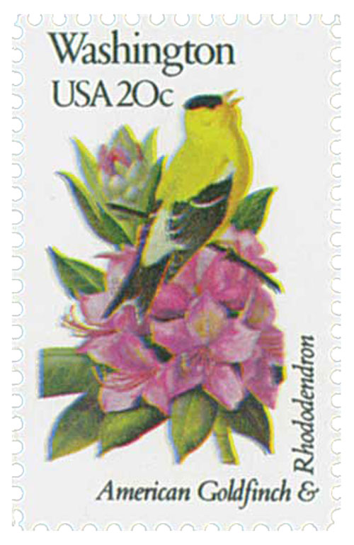 U.S. #1999 pictures Washington's state bird and flower – the American Goldfinch and Rhododendron.