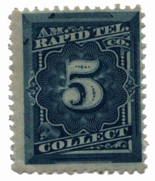 1881 5¢ American Rapid Telegraph Co. 'Collect' Stamp - blue, perf 12