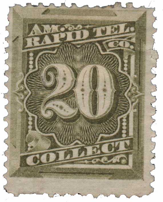 1881 20¢ American Rapid Telegraph Co. 'Collect' Stamp - olive-green, perf 12