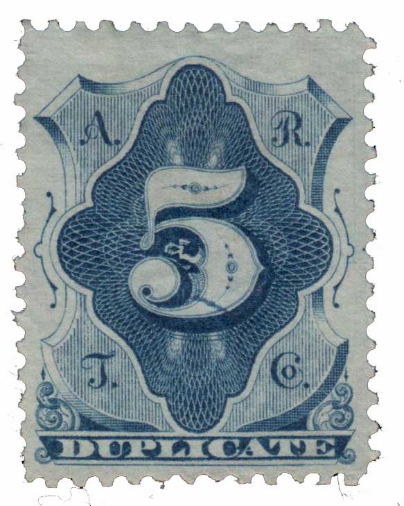 1881 5¢ American Rapid Telegraph Co. 'Office Coupon' Stamp - blue, perf 12