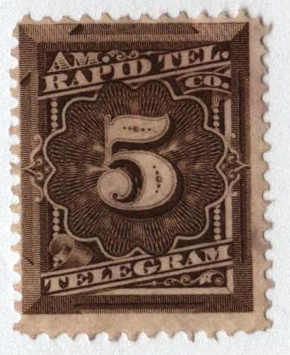 1881 5c bister brown Prepaid Telegram