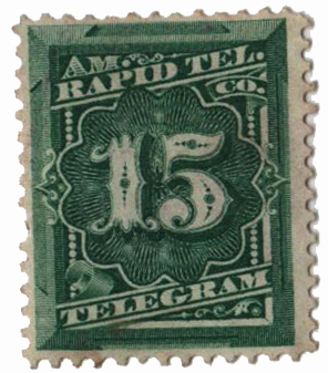 1881 15¢ American Rapid Telegraph Co. 'Prepaid Telegram' Stamp - green, perf 12