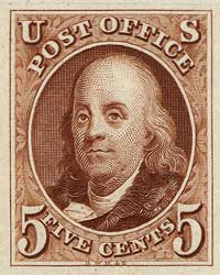 1847 5c B. Franklin,orange brown,imperf