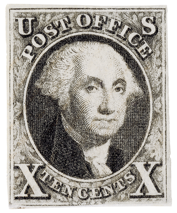1847 10c Washington, black, imperforate