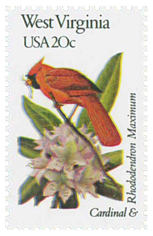 1982 20c State Birds and Flowers: West Virginia