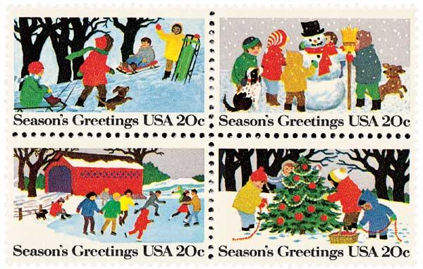 1982 20c 1982 20c Contemporary Christmas: Seasons Greetings