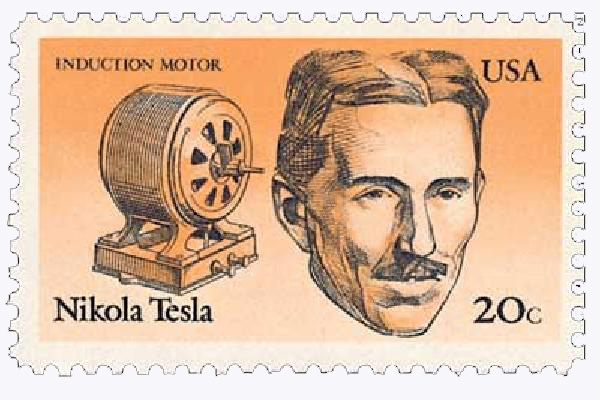 1983 20c American Inventors: Nikola Tesla, Induction Motor