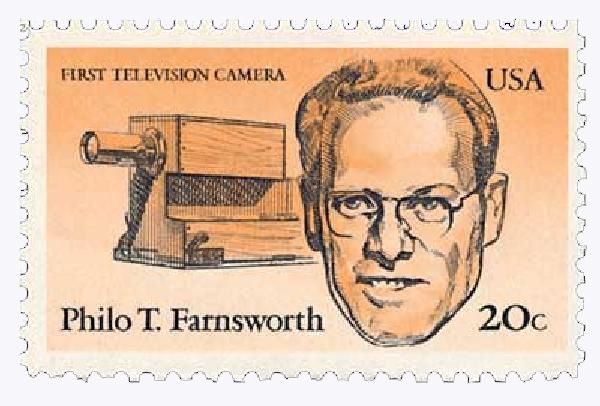 U.S. #2058 pictures Farnsworth and first television camera.