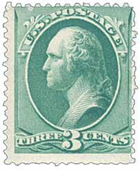 1881 3c Washington, blue green