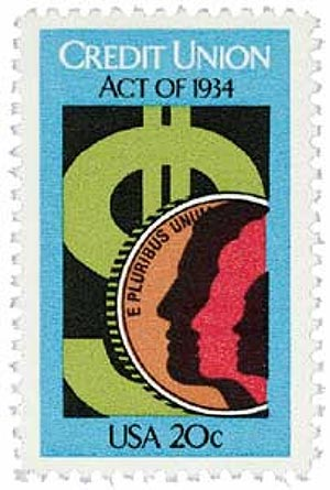 1984 20c 50th anniv. of Credit Union Act