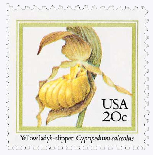 1984 20c Orchids: Yellow Ladys-slipper