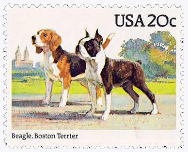 1984 20c Beagle & Boston Terrier