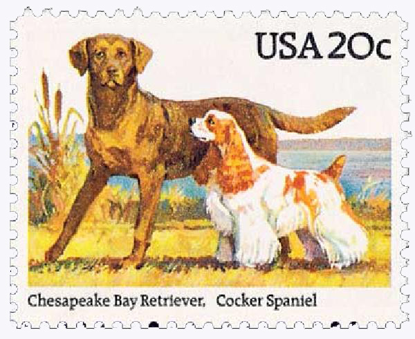 1984 20c Dogs: Chesapeake Bay Retriever and Cocker Spaniel