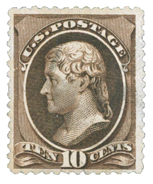 1882 10c Jefferson, black brown