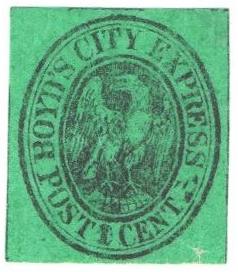 1861 1c black green