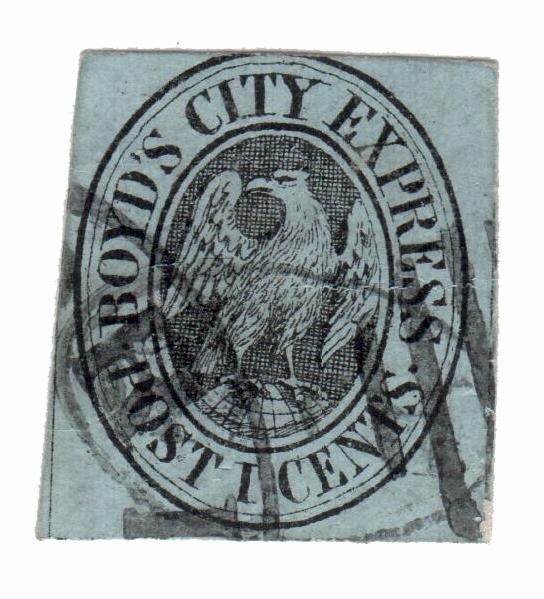 1861 1c black, blue gray