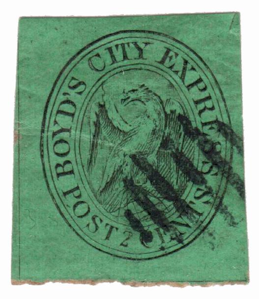 1845 2c black, green