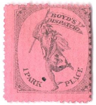 1881 1c black, pink