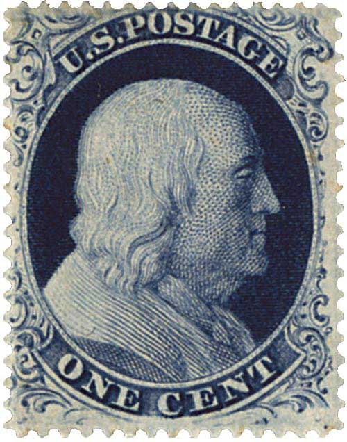 1857-61 1c Franklin, type III, perf 15