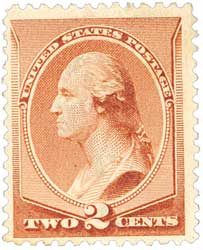 1883 2c Washington, red brown