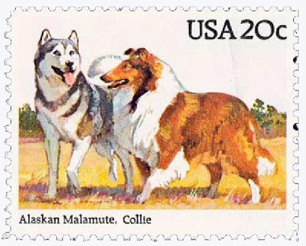 1984 20c Dogs: Alaskan Malamute and Collie