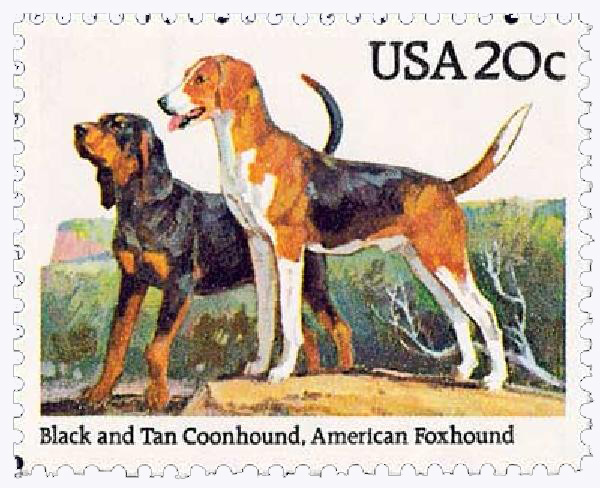 1984 20c Dogs: Coonhound and American Foxhound