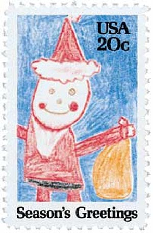 1984 20c Contemporary Christmas: Drawing of Santa Claus