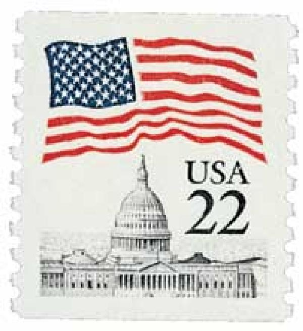 1985 22c Flag over Capitol, coil