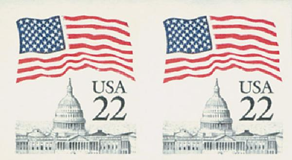 1985 22c Flag Over Capitol,imperf pr