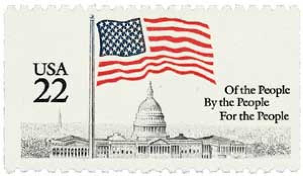 1985 22c Flag over Capitol, booklet single
