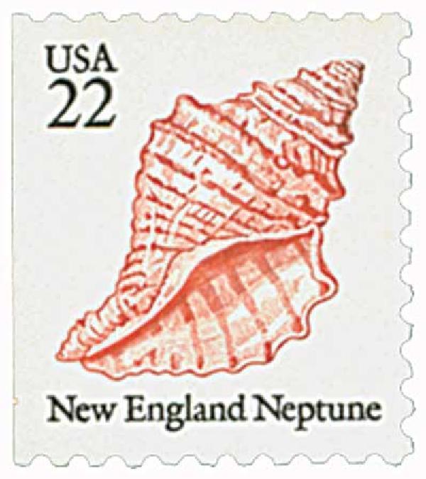 1985 22c Seashells: New England Neptune