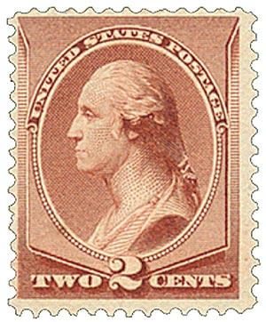 1885 2c Washington, pale red brown