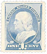 1887 1c Franklin, ultramarine