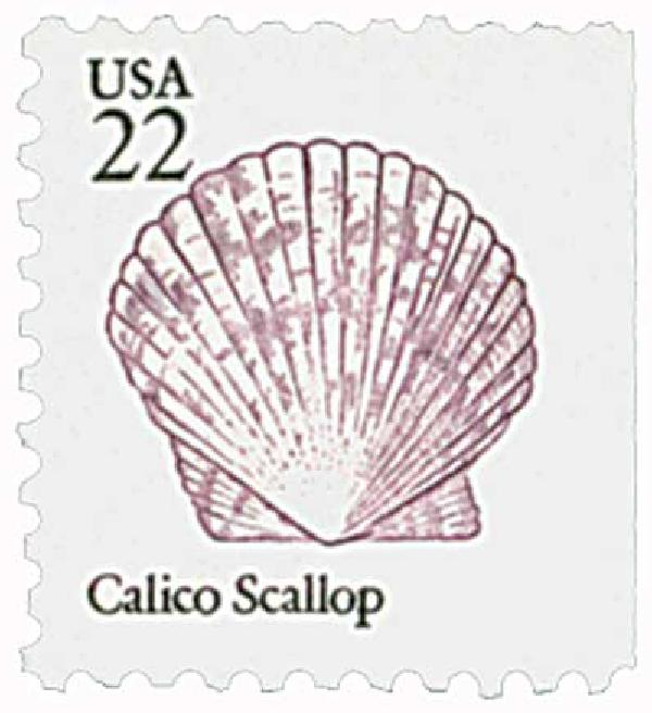 1985 22c Seashells: Calico Scallop