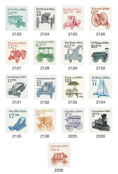1985-87 Transportation Series, set of 17