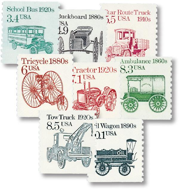 1985-87 Transportation Series, set of 8 stamps