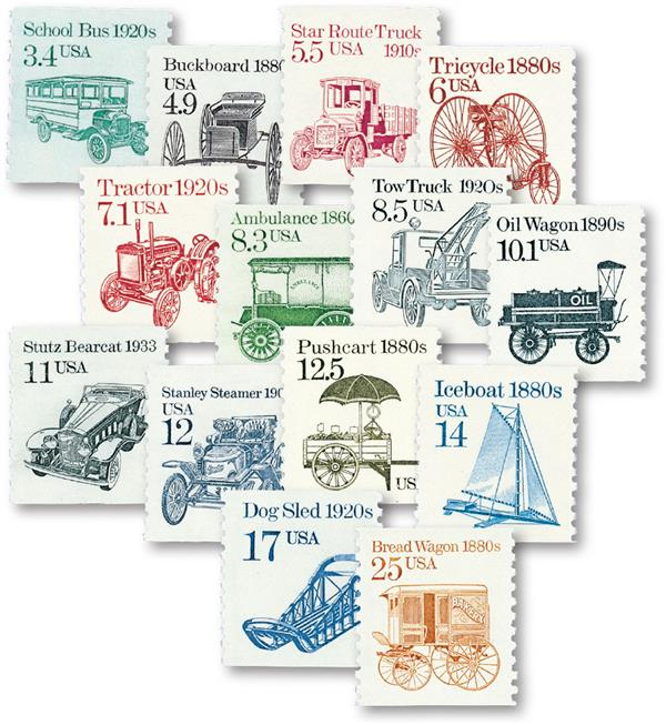 1985-87 Transportation Series, set of 14 stamps
