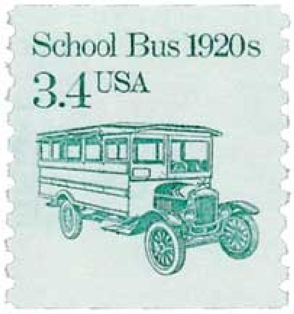 1985 3.4c Transportation Series: School Bus, 1920s