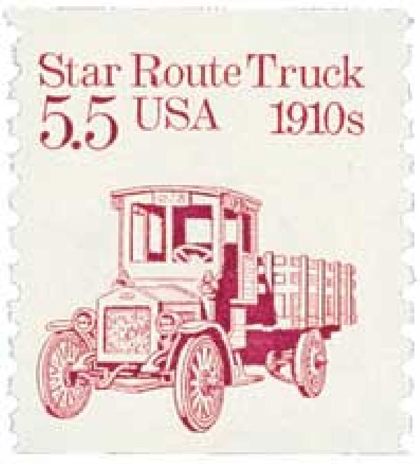 1986 5.5c Transportation Series: Star Route Truck, 1910s