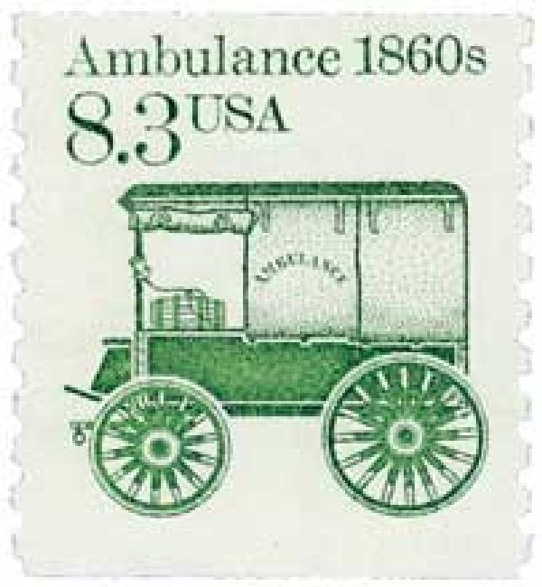 1985 8.3c Transportation Series: Ambulance, 1860s