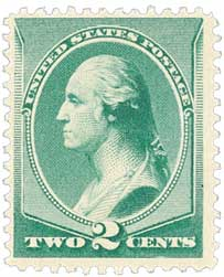 1887 2c Washington, green