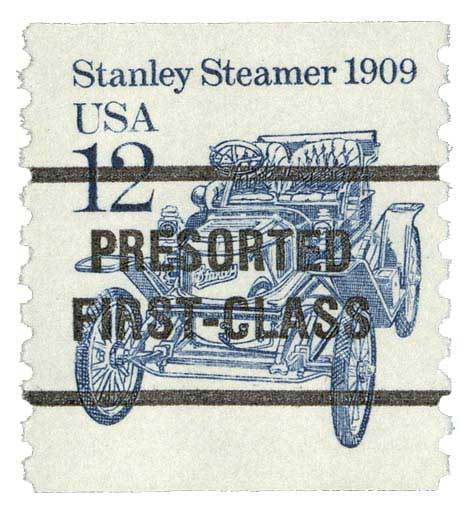 1987 12c Stanley Steamer, precancel