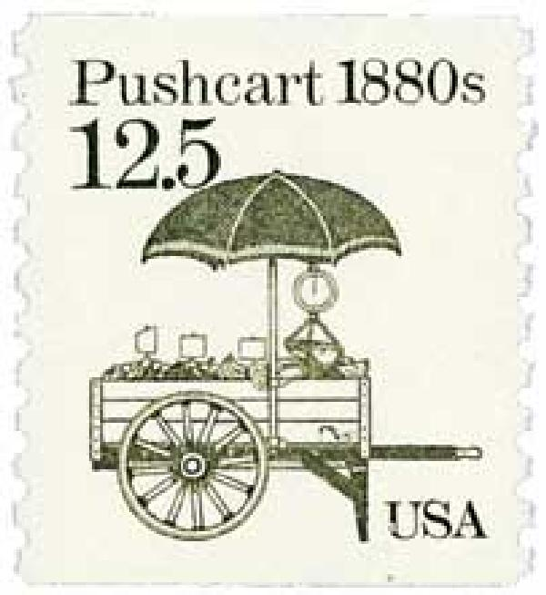 1985 12.5c Transportation Series: Pushcart, 1880s