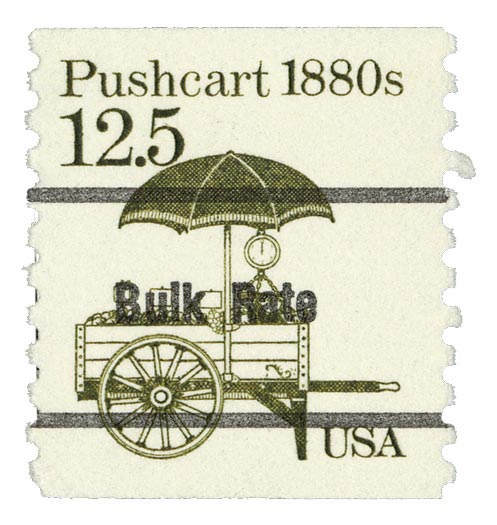 1987 12.5c Pushcart, precancel, coil